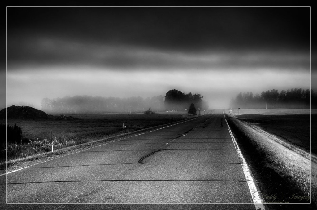 Lonely Country Road in the Fog