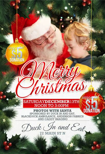 Santa is coming to the Duck in and Eat in Blackduck, MN